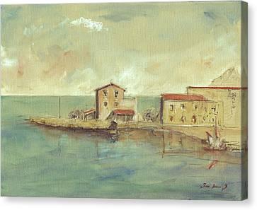 Porticello Santa Flavia  Seascape At Sicily Palermo Canvas Print by Juan  Bosco