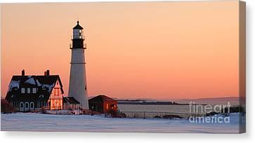 Portland Head Light At Dawn - Lighthouse Seascape Landscape Rocky Coast Maine Canvas Print by Jon Holiday