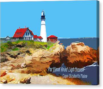 Portland Head Lighthouse Cape Elizabeth Maine Canvas Print by Elaine Plesser