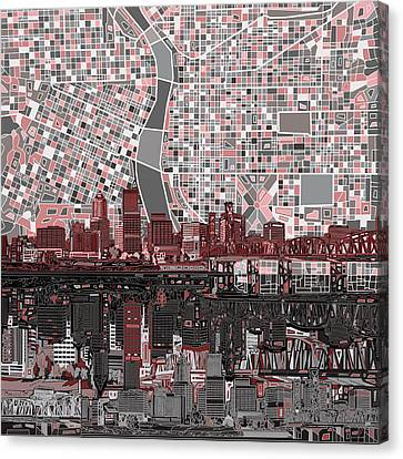 Portland Skyline Abstract 8 Canvas Print by Bekim Art