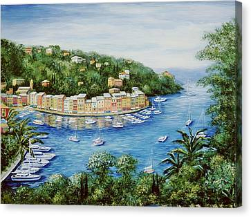 Portofino Majestic Panoramic View Canvas Print by Marilyn Dunlap