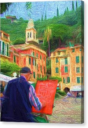 Portofino Through The Eyes Of An Artist Canvas Print by Mitchell R Grosky