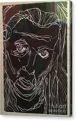 Portrait Lino Print #1 Canvas Print by Sarah Clatterbuck