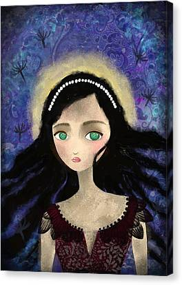 Portrait Of A Girl In A Forest During The Full Moon Canvas Print by Yazmin Basa