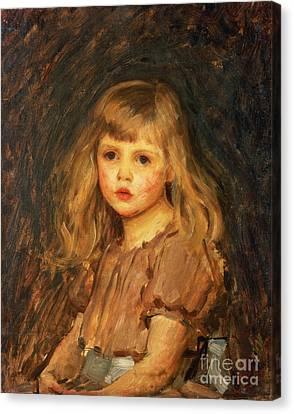 Portrait Of A Girl Canvas Print by John William Waterhouse