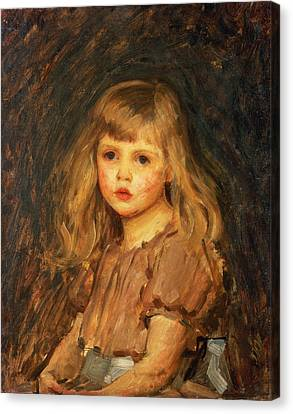Portrait Of A Girl Canvas Print by John William Waterhouse