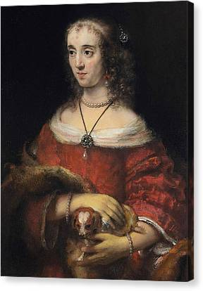 Portrait Of A Lady With A Lap Dog Canvas Print by Rembrandt