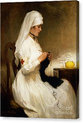 Portrait Of A Nurse From The Red Cross Canvas Print by Gabriel Emile Niscolet