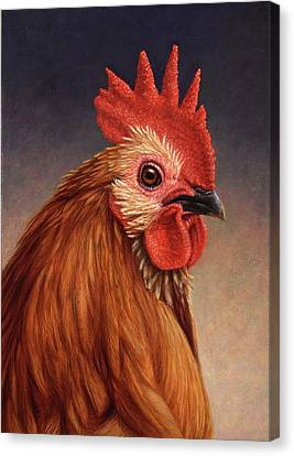 Portrait Of A Rooster Canvas Print by James W Johnson