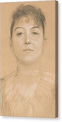 Portrait Of A Woman Canvas Print by Gustav Klimt