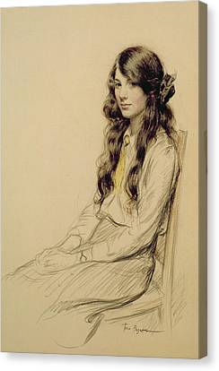 Portrait Of A Young Girl Canvas Print by Frederick Pegram