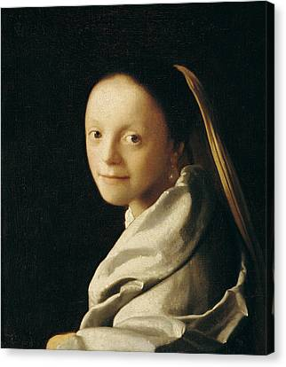 Portrait Of A Young Woman Canvas Print by Jan Vermeer