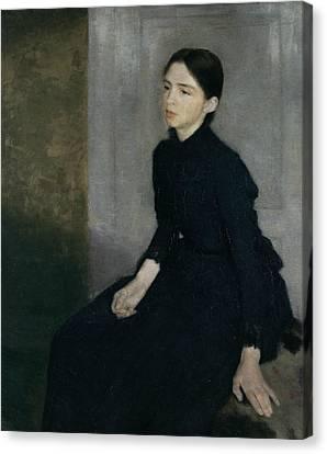 Portrait Of A Young Woman Canvas Print by Vilhelm Hammershoi