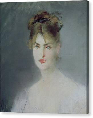 Portrait Of A Young Woman With Blonde Hair And Blue Eyes Canvas Print by Edouard Manet