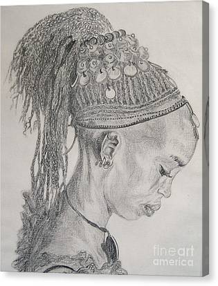 Portrait Of African Girl Canvas Print by Nancy Rucker
