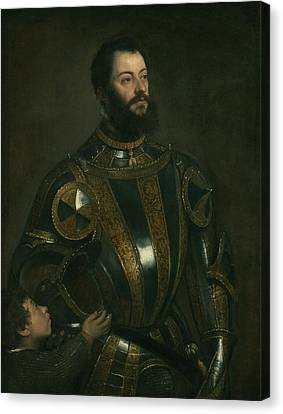 Portrait Of Alfonso D'avalos, Marquis Of Vasto, In Armor With A Page Canvas Print by Titian