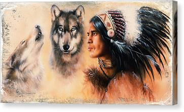 Portrait Of American Indian In National Dress  On Color Backgrou Canvas Print by Jozef Klopacka