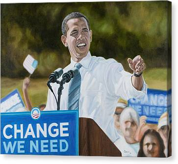 Portrait Of Barack Obama The Change We Need Canvas Print by Christopher Oakley