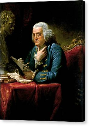 Portrait Of Benjamin Franklin Canvas Print by David Martin