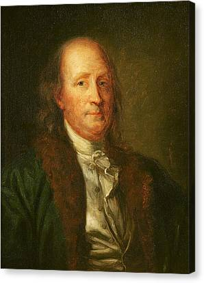 Portrait Of Benjamin Franklin Canvas Print by George Peter Alexander Healy