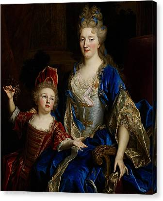 Portrait Of Catherine Coustard Canvas Print by Nicolas de Largilliere