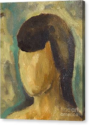 Portrait Of Girl Series On Expressionism, Oil Painting On Canvas With Artist-made Preparations Canvas Print by Alessandro Nesci