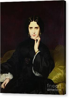 Portrait Of Jeanne De Tourbay Canvas Print by Eugene Emmanuel Amaury-Duval