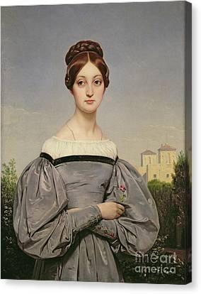 Portrait Of Louise Vernet Canvas Print by Emile Jean Horace Vernet