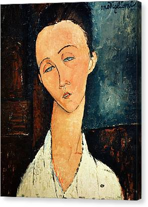 Portrait Of Lunia Czechowska Canvas Print by Amedeo Modigliani