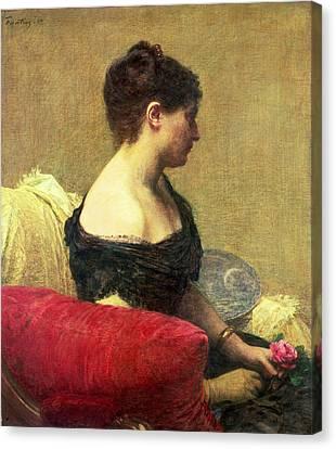 Portrait Of Madame Maitre Canvas Print by Ignace Henri Jean Fantin Latour
