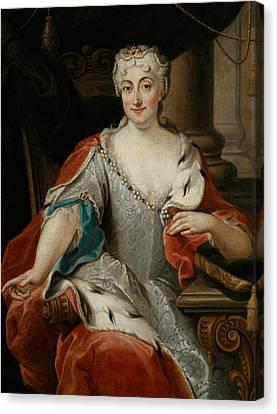 Portrait Of Maria Clementina Sobieska Canvas Print by Pier Leone Ghezzi