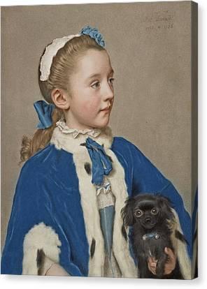 Portrait Of Maria Frederike Van Reede-athlone At Seven Years Of Age Canvas Print by Jean-Etienne Liotard