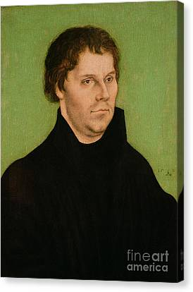 Portrait Of Martin Luther Canvas Print by Lucas Cranach the Elder