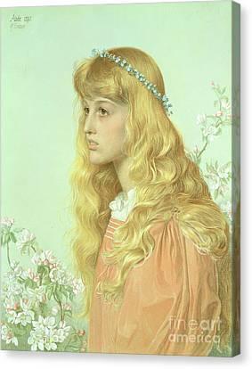 Portrait Of Miss Adele Donaldson, 1897 Canvas Print by Anthony Frederick Augustus Sandys