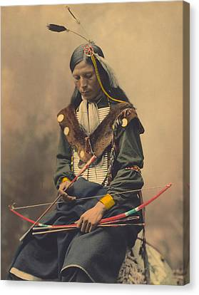 Portrait Of Oglala Sioux Council Chief Bone Necklace Canvas Print by American School