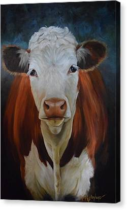 Portrait Of Sally The Cow Canvas Print by Cheri Wollenberg