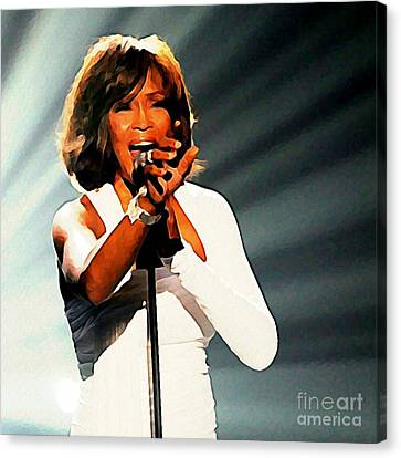 Portrait Of Whitney Singing Canvas Print by John Malone