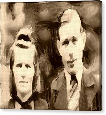 Portrait Underpainting In Umber And Browns Old Couple Canvas Print by MendyZ