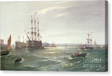 Portsmouth Harbour With Hms Victory Canvas Print by Robert Ernest Roe