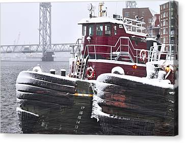 Portsmouth Tugs In A Blizzard Canvas Print by Eric Gendron