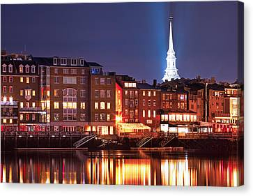Portsmouth Waterfront At Night Canvas Print by Eric Gendron
