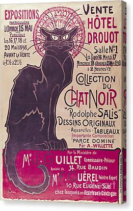 Poster Advertising An Exhibition Of The Collection Du Chat Noir Cabaret Canvas Print by Theophile Alexandre Steinlen