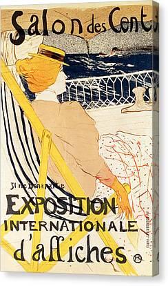 Poster Advertising The Exposition Internationale Daffiches Paris Canvas Print by Henri de Toulouse-Lautrec