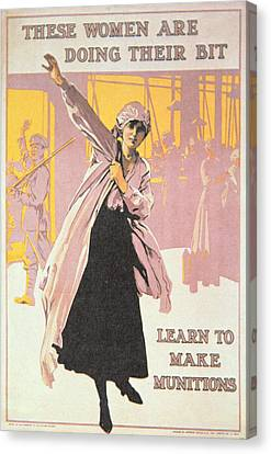 Poster Depicting Women Making Munitions  Canvas Print by English School