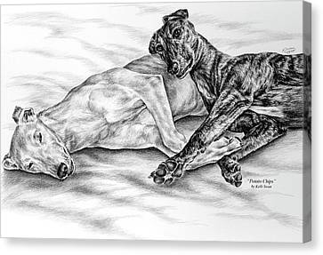 Potato Chips - Two Greyhound Dogs Print Canvas Print by Kelli Swan