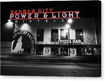 Power And Light Pizza Bw Canvas Print by Thomas Zimmerman