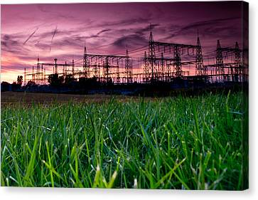 Power Lines Sunset Canvas Print by Cale Best