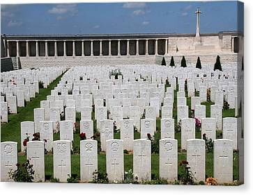 Canvas Print featuring the photograph Pozieres British Cemetery by Travel Pics
