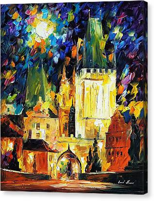 Prague 2 - Palette Knife Oil Painting On Canvas By Leonid Afremov Canvas Print by Leonid Afremov
