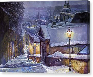 Prague Castle Steps Winter   Canvas Print by Yuriy Shevchuk